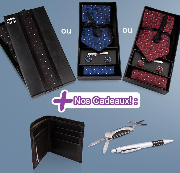 Offrez donc une Cravate, une épingle, une pochette et des boutons de manchettes 100% soie proposé dans une magnifique boite avec un choix de 3 couleurs.